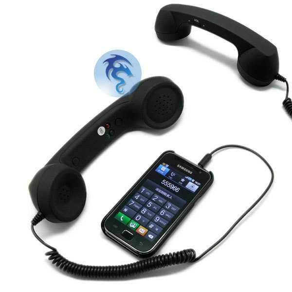 黒電話の受話器型のイヤホン