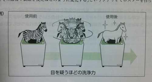 シマウマを洗濯機で洗ったら白馬になった図