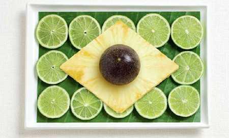 ご当地の食べ物で作った国旗「ブラジル」
