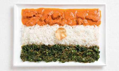 ご当地の食べ物で作った国旗「インド」