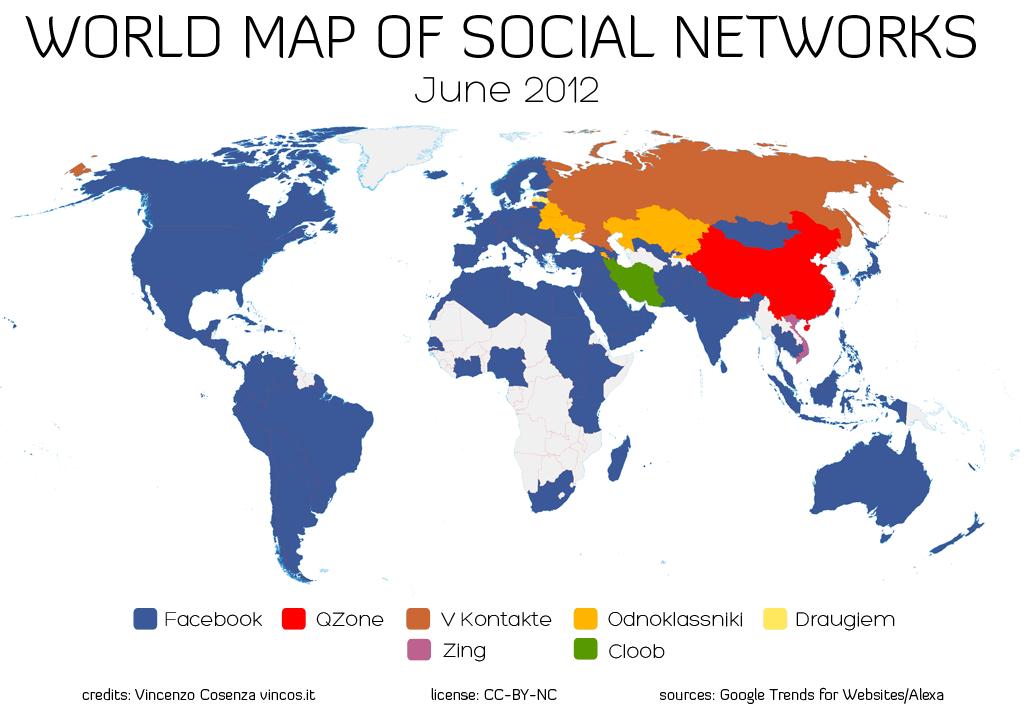 2012年の世界のSNS勢力図