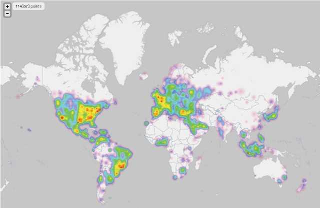 世界のツイート状況がリアルタイムに地図上に表示されるサービス「The one million tweet map」