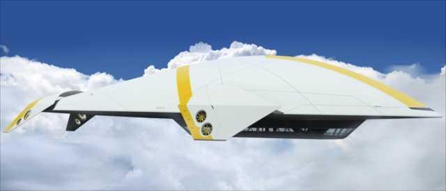 ゲームや映画の世界から飛び出したような前衛的デザインの飛行船