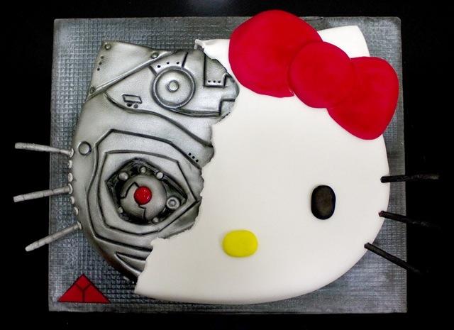 キティちゃんは猫型ロボットだった!?「ターミキティ」のケーキが海外で話題