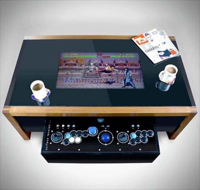 昔懐かしいテーブルアーケードゲームがそのままテーブルに「Dual Arcade Game Table」
