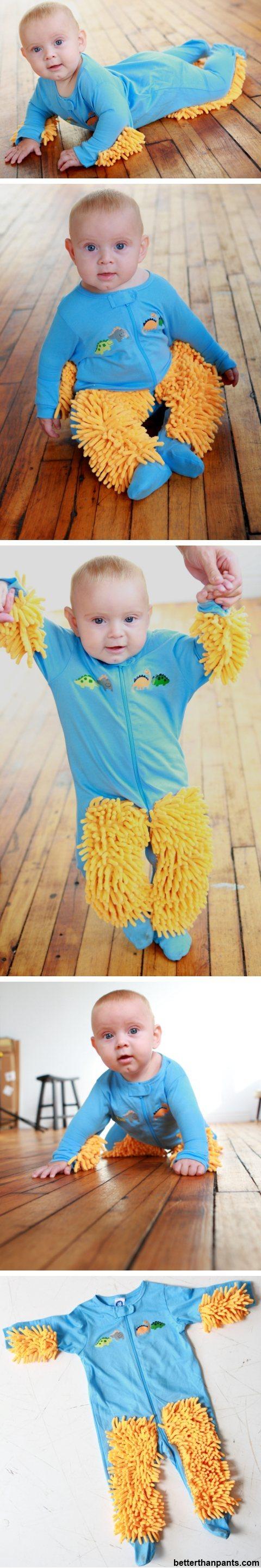 赤ちゃんの「はいはい」を利用して床をピカピカにする「Baby Mop」って商品ワロタw