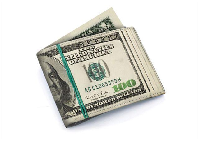 これ絶対スリに盗られるよ!100ドル札の札束に見える財布