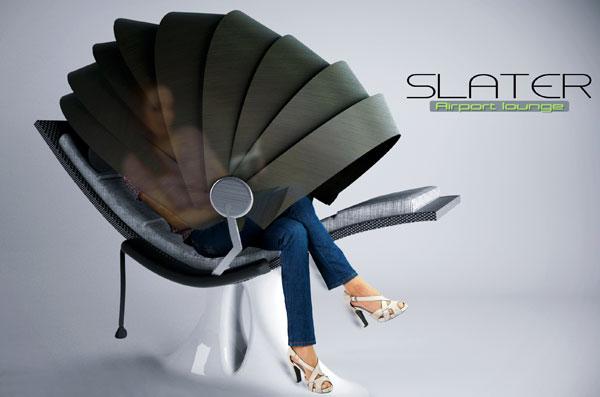 自分だけの空間を作ることができるダンゴムシのような形状の椅子「Slater」