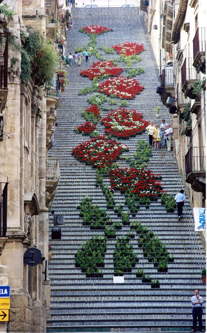 サンタマリアデルモンテの大階段の鉢植えで作られた巨大なアートワークが素敵!