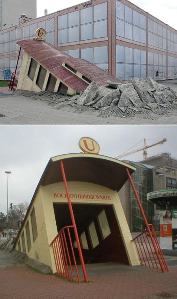 ドイツのフランクフルトに実在するとんでもない形の地下鉄の入り口