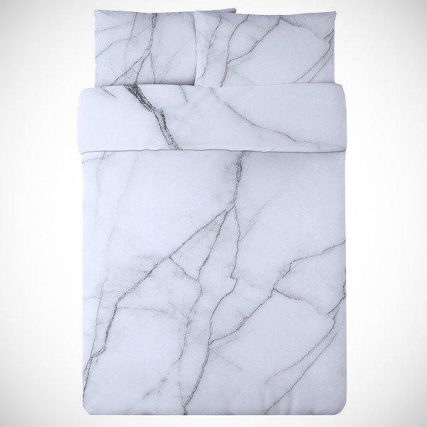 カチカチの布団!?大理石みたいなベットカバー「White Marble Duvet Set」