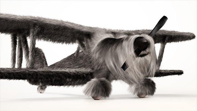犬とプロペラ機が融合したアート「Dogfighters」