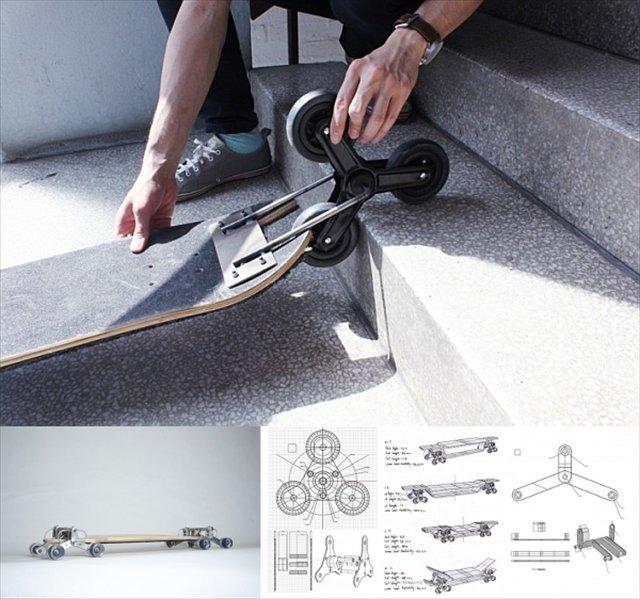 階段も簡単に降りれるロングボード「Stair Rover」が凄いぞ!