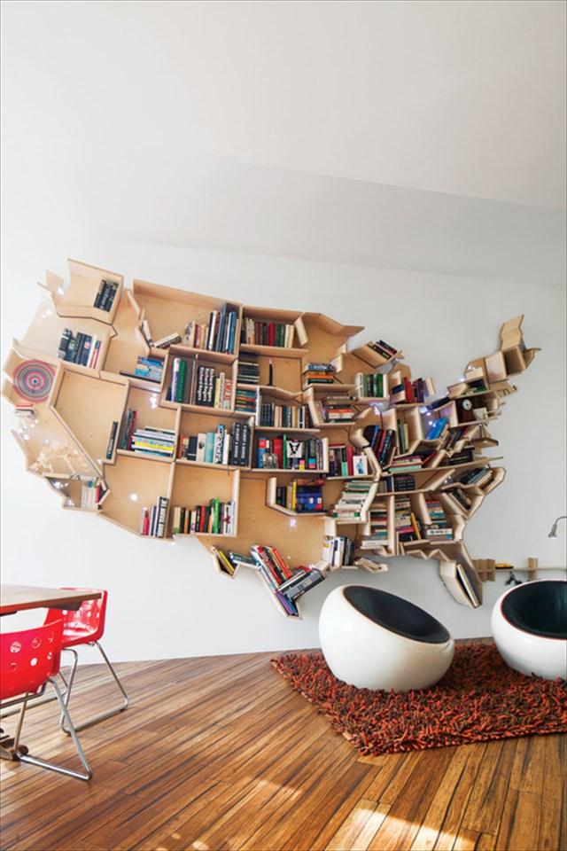 なんかいいなこれwアメリカの形をした本棚「AN AMERICAN BOOKSHEL」