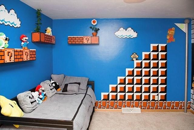これは凄い!スーパーマリオをテーマにしたほぼ全て手描きの子供部屋