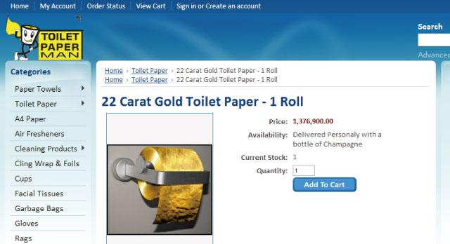 すげー!137万ドルの黄金のトイレットペーパーが売ってるぞ!!