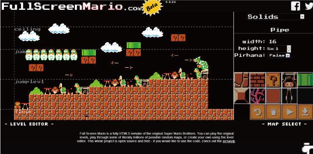 HTML5でリメイクされたスーパーマリオ「Full Screen Mario」が凄い!MAPも作れるよ!