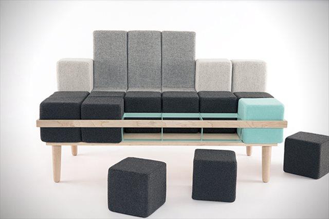テトリスみたいにブロックを組み合わせて自由な形にできるソファー「Bloc'd Sofa」