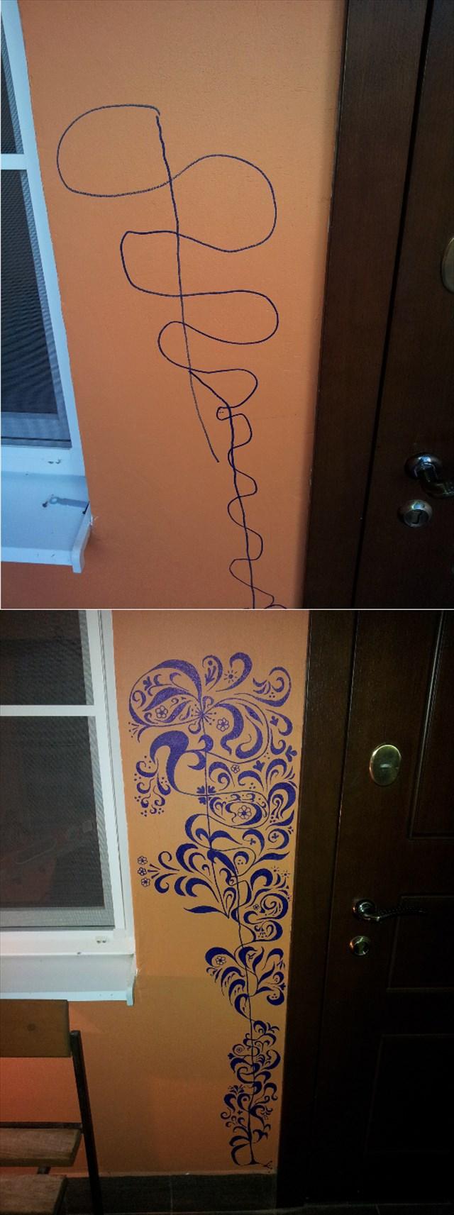 子供が壁に描いてしまった落描きを凄い技法で修正した父親が凄いと話題