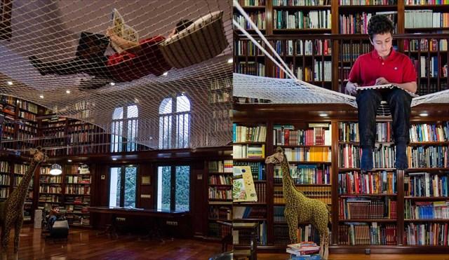吹き抜け部分を読書スペースに変換するネット「Reading Net」