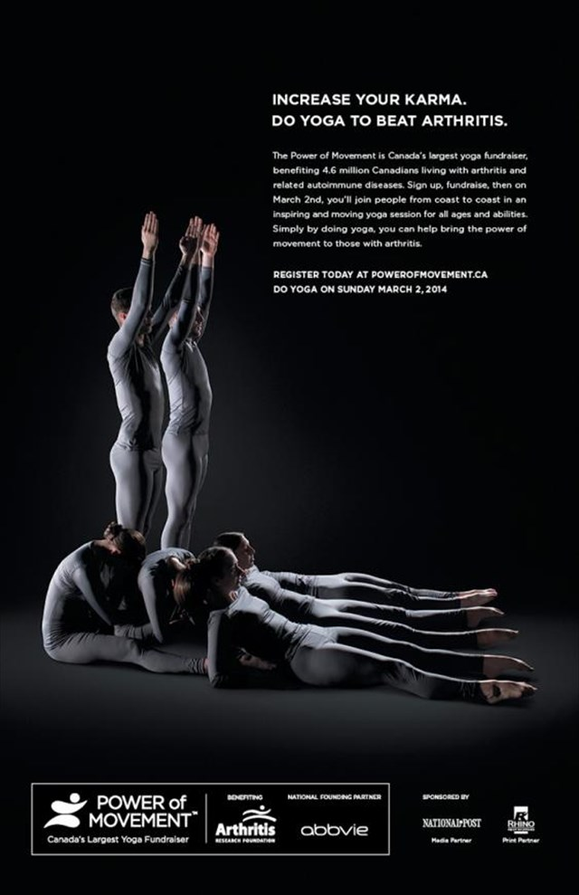 【動画あり】集団ヨガで人間の骨の動きを表現した関節炎研究財団のキャンペーンが秀逸