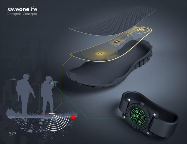 靴底のセンサーで地雷を感知してリストバンドで知らせる「SaveOneLife」というコンセプトが素晴らしい