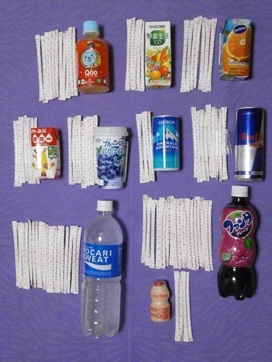 各ジュースの砂糖の量をスティックシュガーの本数で表現した画像が衝撃的だと話題に