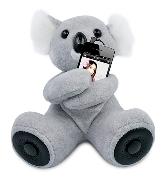 コアラがギュッと抱きしめてくれるスマホ用ドッグスピーカー
