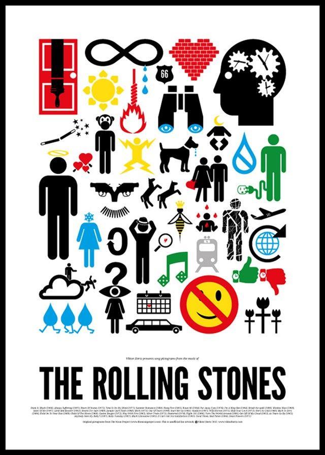 ビートルズやボブ・ディランなどの名曲をイラストで表現した「Pictogram Rock Posters」が面白い