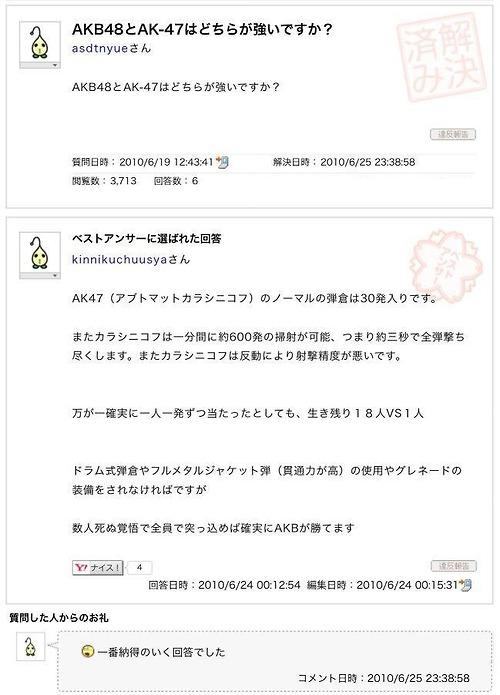 【小ネタ】「AKB48とAK-47はどちらが強いですか?」への神回答