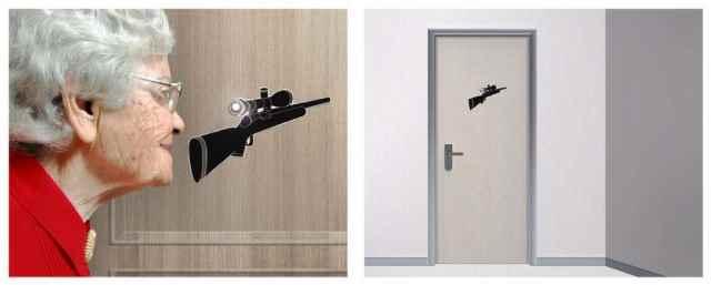 Door Peephole Gun Sticker
