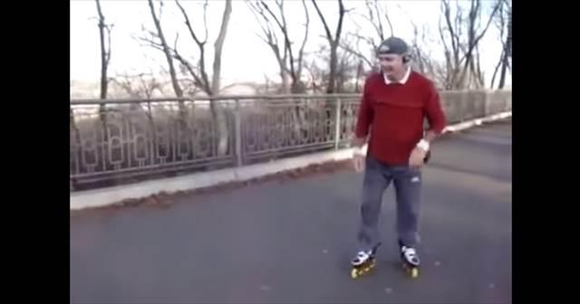 【動画】ローラーブレードが超上手い謎のロシア人オジサンが凄カワイイぞw