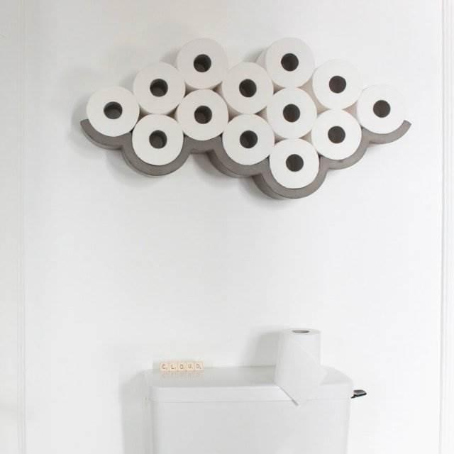 トイレットペーパーを雲に変える棚『Cloud Concrete Toilet Paper Storage』のアイデアが素敵!