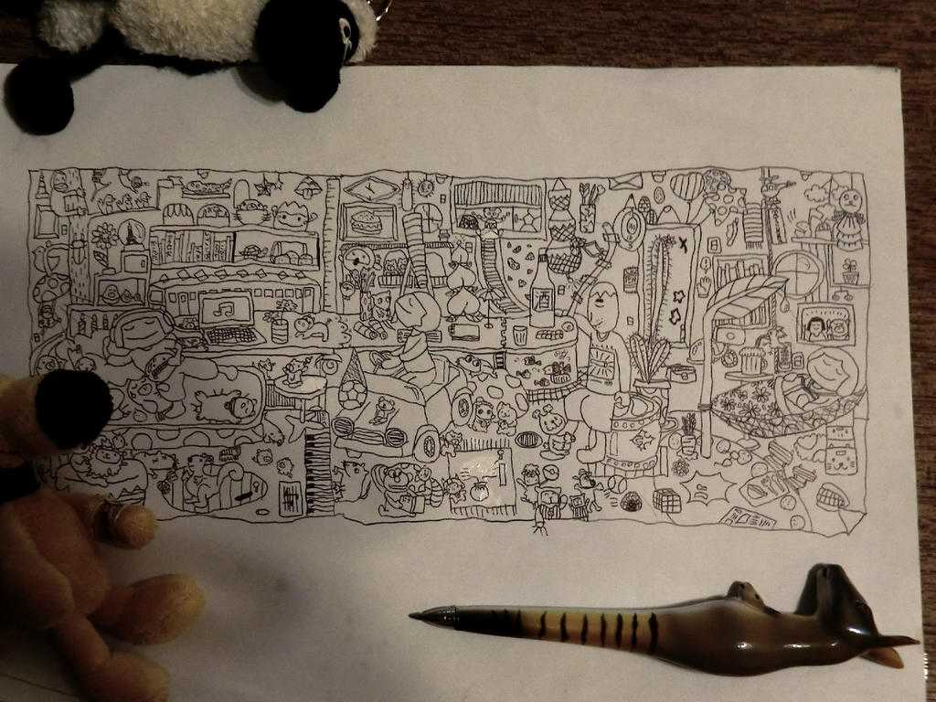 小3の娘がA4コピー用紙にボールペンで描いた絵が凄いとTwitterで話題!