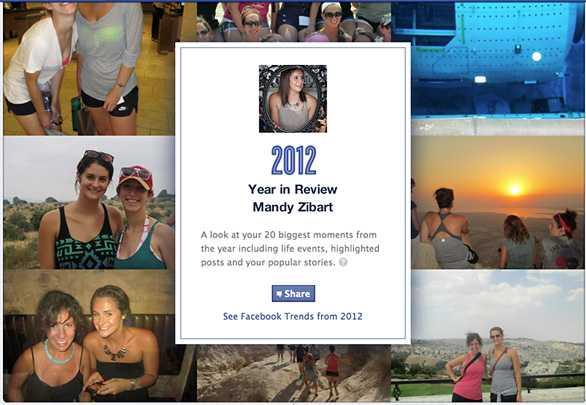 Facebookが2012年を振り返る「今年のまとめページ」を提供