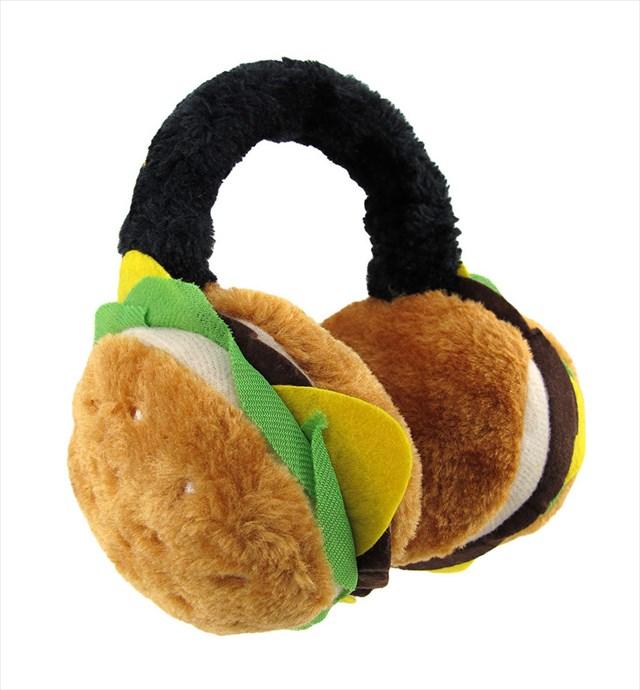 ハンバーガー型の耳あて「Plush Cheeseburger Adjustable Earmuffs」