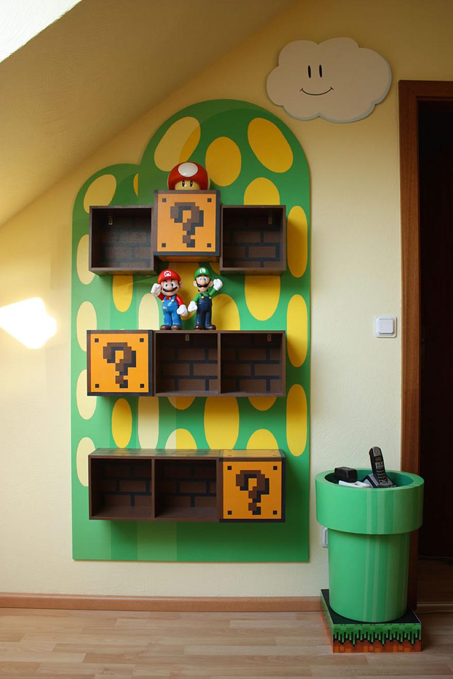 これは可愛い!スーパーマリオのはてなブロックみたいな棚、土管もあるよ